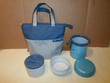 Lot Ms Zojirushi Bento *3 Pc Blue Vacuum Lunch Bag Jar Container Hot/Cold Bowl
