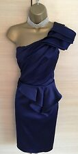 Exquisite Karen Millen Blue Peplum One Shoulder Wiggle Dress UK10 Stunning