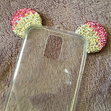 Samsung Galaxy S5 - Pink Diamond Bling Minnie Mouse Ears TPU Rubber Case Cover
