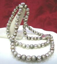 """925 STERLING SILVER TCM TEXTURED BALL BEADED CHAIN NECKLACE MEXICO 22.5"""" LONG"""
