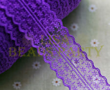 10yards 45mm Fabric Embroidered Lace Bilateral Trim Ribbon Sewing Deep Purple