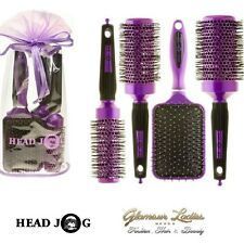 Head Jog Purple Hair Brush Set, Paddle, Radial, Ceramic, Ionic, Gift Bag.