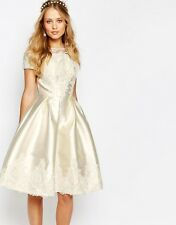 Chi Chi London Bridal Midi Dress with Embroidery and Cap Sleeve UK SIZE 6