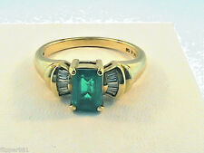 Vintage Emerald and Diamond Ring Yellow Gold 10Kt