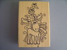 STAMPENDOUS RUBBER STAMPS PEN PATTERN MOOSE CHRISTMAS STAMP