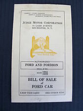 Judge Motor Corp. Rochester NY Ford & Forson Dealers Bill of Sale of Car 1927