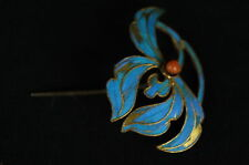 Antique Chinese blue Kingfisher feather hair stick pin ornament [Y8-W1-A9-E8]