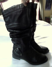 EASY STREET Slouch Boots 7M Black Buckle strap ZipUp riding biker urban comfort
