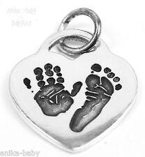 Sterling Silver Heart Small Charm Personalised Handprint Footprint Fingerprint