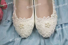 Lace bridal pearls wedding high heel low heel flat bridesmaid shoes size 5-12