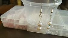 freshwater pearls and AB Swarovski crystal bicone earrings