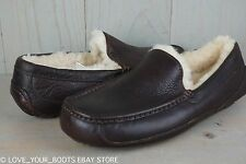 UGG ASCOT CHINA TEA LEATHER SHEEPSKIN MOCCASIN SLIPPERS MENS US 8 NEW