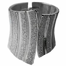 LADIES SILVER TONE AND SILVER GLITTER CUFF WOMEN'S FASHION STATEMENT BRACELET