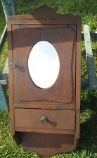 Small Antique Wood medicine bathroom Wall Cabinet Oval mirror Apothecary Sweet
