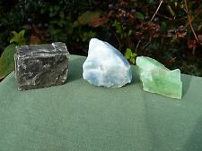 3 x CALCITE - Black, Green & Blue Natural Crystal