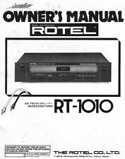 Rotel RT-1010 Tuner Owners Manual