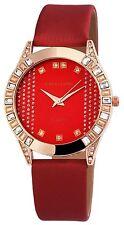 Damenuhr Rot Gold Analog Metall Leder Armbanduhr Strass Quarz D-195235000032595
