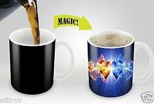 2-Heart Red Blue Design Changing Heat Temperature Sensitive Coffee Mug Cup
