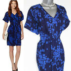 J by Jasper Conran Designer Blue Squares Print With Front Pleating Dress sz10 38
