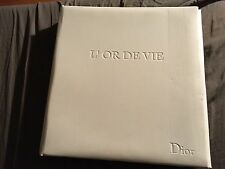 Dior L'or De Vie White Leather Embossed 3 Ring Executive Binder With Folder Leaf