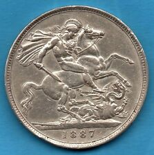 VICTORIAN 1887 SILVER CROWN COIN. QUEEN VICTORIA FIVE SHILLINGS. 5/- (CLEANED)