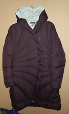 EUC WOMENS M PATAGONIA GOOSE DOWN LONG SWEATER JACKET PUFFER DEEP PURPLE PLUM