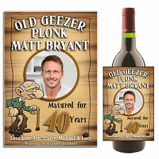 Personalised Wine Champagne Old Geezer Bottle PHOTO Label N11 - Birthday Gift