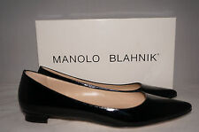 NIB $625 MANOLO BLAHNIK Black Patent Leather Titto Point Toe Flat Shoe 7.5 US 38