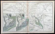 1800's Antique CIVIL WAR Atlas Battle Map / JEB STUART CAVALRY Manassas CORINTH