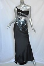 JOHN GALLIANO Black Bias-Cut METALLIC SEQUIN Draped Gown Long Evening Dress XS
