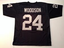 Oakland Raiders Charles Woodson UNSIGNED CUSTOM Black Jersey - XL