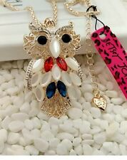 Cute NWT Betsey Johnson Necklace Patriotic Owl �� Red White Blue