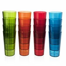 16 Plastic Drinking Tumbler Set 20 oz. Glasses Water Soda Pop Ice Tea Juice Cup