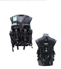 Deluxe Lightweight BLACK TACTICAL VEST Paintball Harness w Tank & Pod Pouch GXG