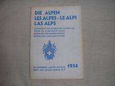 Revue du club alpin Suisse die Alpen les Alpes Le Alpi montagne escalade 7 1954