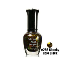 1 Kleancolor Nail Polish Lacquer #236 Chunky Holo Black Manicure