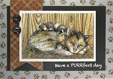 Cat Nap HOUSE MOUSE Wood Mounted Rubber Stamp STAMPENDOUS, NEW - HMP46