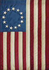 BETSY ROSS Applique Tea Stained AMERICAN FLAG 2 Sided Custom Decor Garden Flag