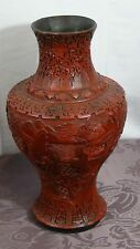 ANTIQUE 18c CHINESE RED LACQUERED LARGE CINNABAR IMMORTALS ON LANDSCAPE VASE 14""