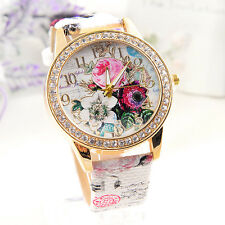 Stainless Steel Flower Dial Leather Ladies Women's Analog Quartz Wrist Watch CHI