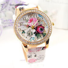 Flower Dial Leather Women's Ladies Stainless Steel Analog Quartz Wrist Watch