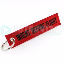 INSERT BEFORE FLIGHT QTY= 1 PC RED/black KEYCHAIN RING TAGS CABIN CREW
