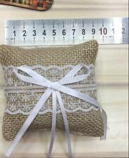 Rustic Burlap Lace Pocket Ring Pillow Bearer Cushion Wedding Party Ceremony