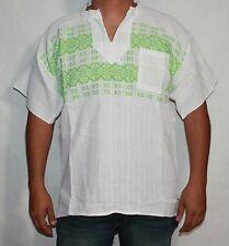 MEDIUM MEN'S MEXICAN SHIRT 100% COTTON BACKSTRAP LOOM HUIPIL WHITE