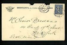 Postal History France Scott #141 Perfin 1/6/1905 Paris to New York NY USA