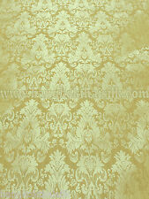 "GOLD YELLOW FAUX SILK DAMASK JACQUARD 57""W FABRIC DRAPE UPHOLSETERY"