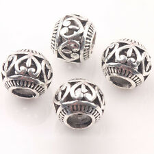 10Pcs Retro Tibetan Silver Spacer Beads Fit Charm European Bracelet 10mm A0479-D