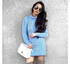 Womens Long Sleeve Cowl Polo Neck Cable Knitted Jumper Mini Dress Top 8-14
