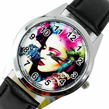 MADONNA MUSIC STAR SINGER S Steel BLACK LEATHER BAND ROUND COLOUR CD WATCH