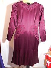 MISSES DARK PLUM EMBROIDERED BEADED THISTLE DRESS TORY BURCH 6 $895 SOLD OUT!!